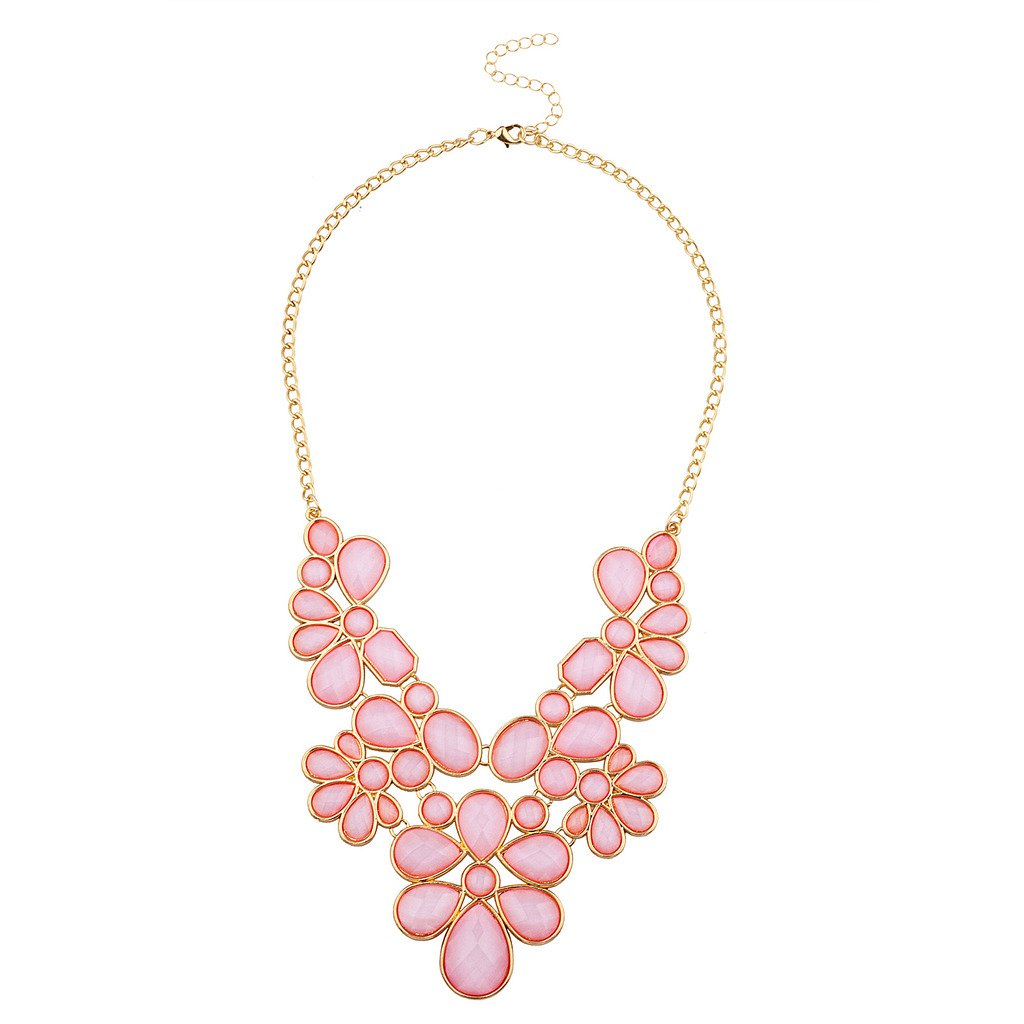 Lux Accessories Womens Tribal Flower Bib Chunky Statement Necklace