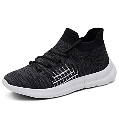 5245e93c35ea DOUDOU shop Walking Running Tennis Shoes Men - Mesh Breathable Lightweight  Sports Lace Up Sneakers Black Grey