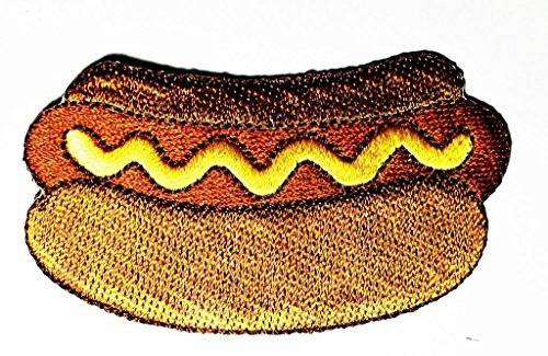 Hot Dog Bun Costume Pattern (HOT DOG & BUN-FOOD-PICNIC-BARBECUE-FAST FOOD Cartoon Movie patch Kid Baby Boy Jacket T Shirt Patch Sew Iron on Embroidered Symbol Badge Cloth Sign Costume)