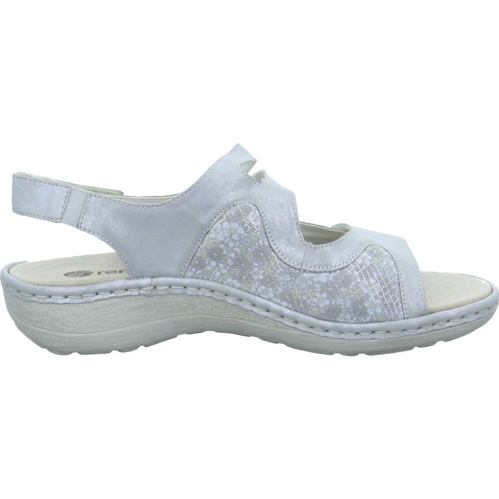 Metallic D7647-90 Damen Sandale aus Nubukleder Textilmaterial Klettverschlüsse