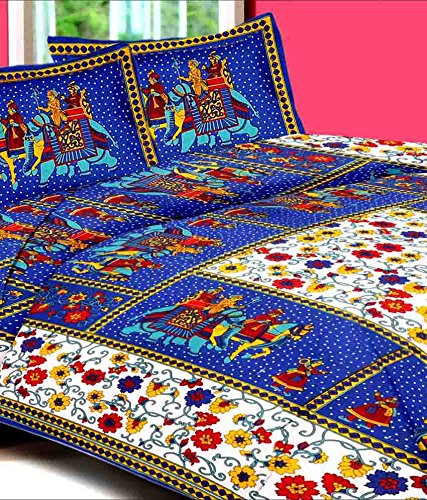 Uniqchoice 144 TC Cotton Double Bedsheet With 2 Pillow Covers   Blue:  Amazon.in: Home U0026 Kitchen