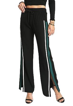 4cb9c9964ff1b MeshMe Women's Bolt - Side Slit Tape Striped Drawstring Elastic Waistband  Pants at Amazon Women's Clothing store: