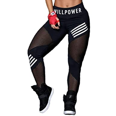 73bce0e94b ECHOINE Women Yoga Capri Athletic Gym Tight Pants Tummy Control High Waist  Workout Running Legging Mesh