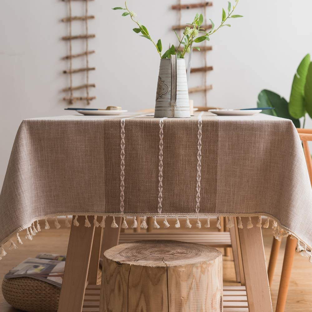 "TruDelve Heavy Duty Cotton Linen Tablecloth for Rectangle Table Stitching Tassel Table Cloth for Dining Table Dust-Proof Table Cover for Tabletop Decoration(55""x98"", S-Linen)"