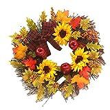 EBTOYS Thanksgiving Autumn Garland Hanging Maple Leaf & Sunflower Wreath for Thanksgiving Home Window Door Wall Hanging