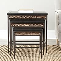 Safavieh American Homes Collection Reed Black and Dark Walnut Stacking Tables