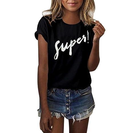 Yeamile💋💝 Camiseta de Mujer Tops Negro Blusa Causal Ocasionales Camiseta Sueltas Camiseta Blusa para