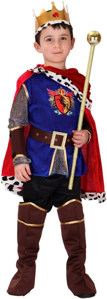 LOLANTA 7PCS Niño Medieval Príncipe Rey Disfraz Niño Halloween Príncipe Cosplay (5-6 años)