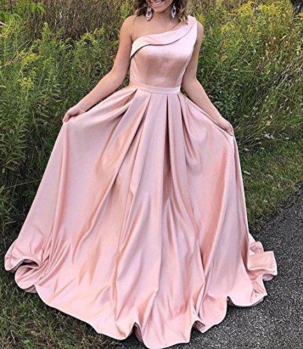 Raso Ccbubble Prom Abiti Lunghi 2018 Abiti Da Una Spalla Di Promenade Del Partito Lilla