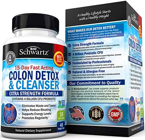 Colon Cleanser & Detox for Weight Loss. 15 Day Extra Strength Detox Cleanse with Probiotic for Constipation Relief. Pure Colon Detox Pills for Men & Women. Flush Toxins, Boost Energy. Safe & Effective 4