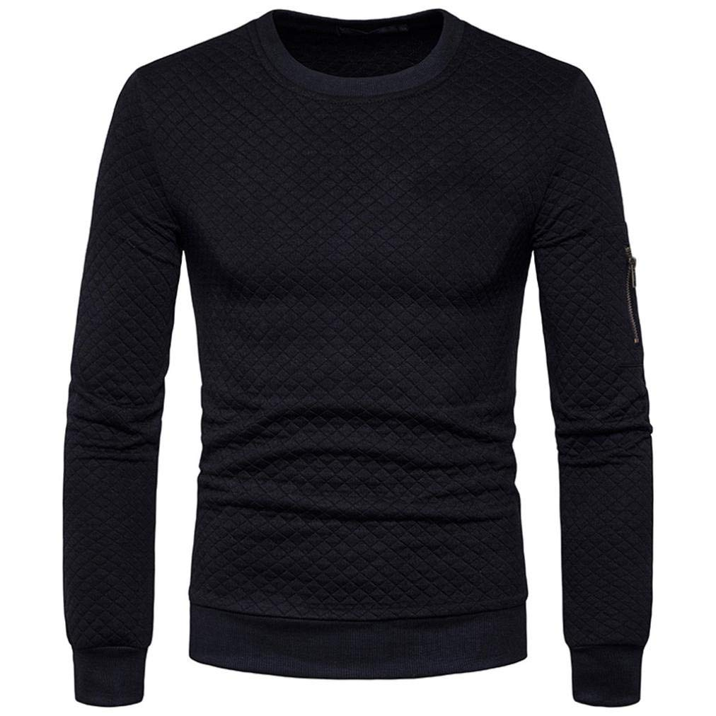 Danhjin Autumn Winter Plaid Hedging Crewneck Sweatshirt Tops Mens' Jacket Coat Outwear Solid Pullover (Black, S)