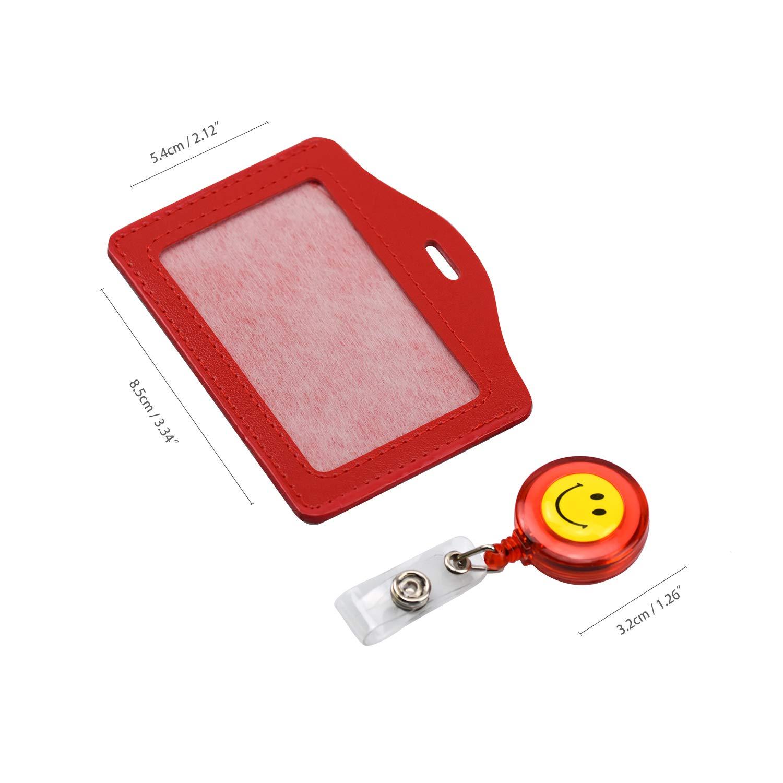 Wandefol 10 Pezzi Porta badge tessere Lati Ecopelle con Retrattile Bobina Badge Cinghie Cordini