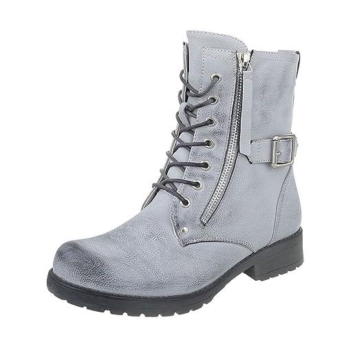 Zapatos para mujer Botas Plano Botines camperos Plateado Tamaño 41: Amazon.es: Zapatos y complementos