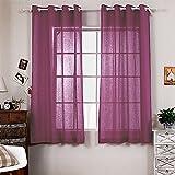 "R.LANG Solid Grommet Top Faux Linen Window Panels for Livingroom 1 Pair Deep Rose Red 46""W X 84"" L (Set of 2 Panels)"