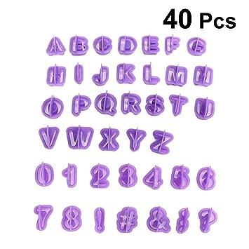 BESTONZON 40 piezas Set de moldes de corte de Inglés Alfanumérico y Números Cookie DIY Molde para hornear: Amazon.es: Hogar