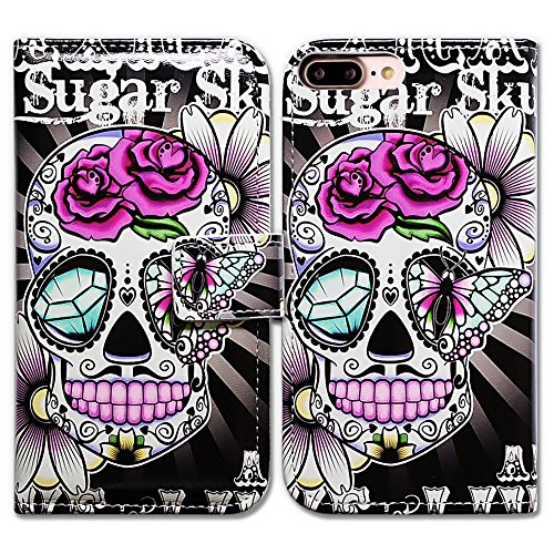 iPhone 7 Plus Case, Bfun Packing Bcov Purple Flower Sugar Skull Card Slot Leather Wallet Cover Case For iPhone 7 Plus (Cover Skull Case)
