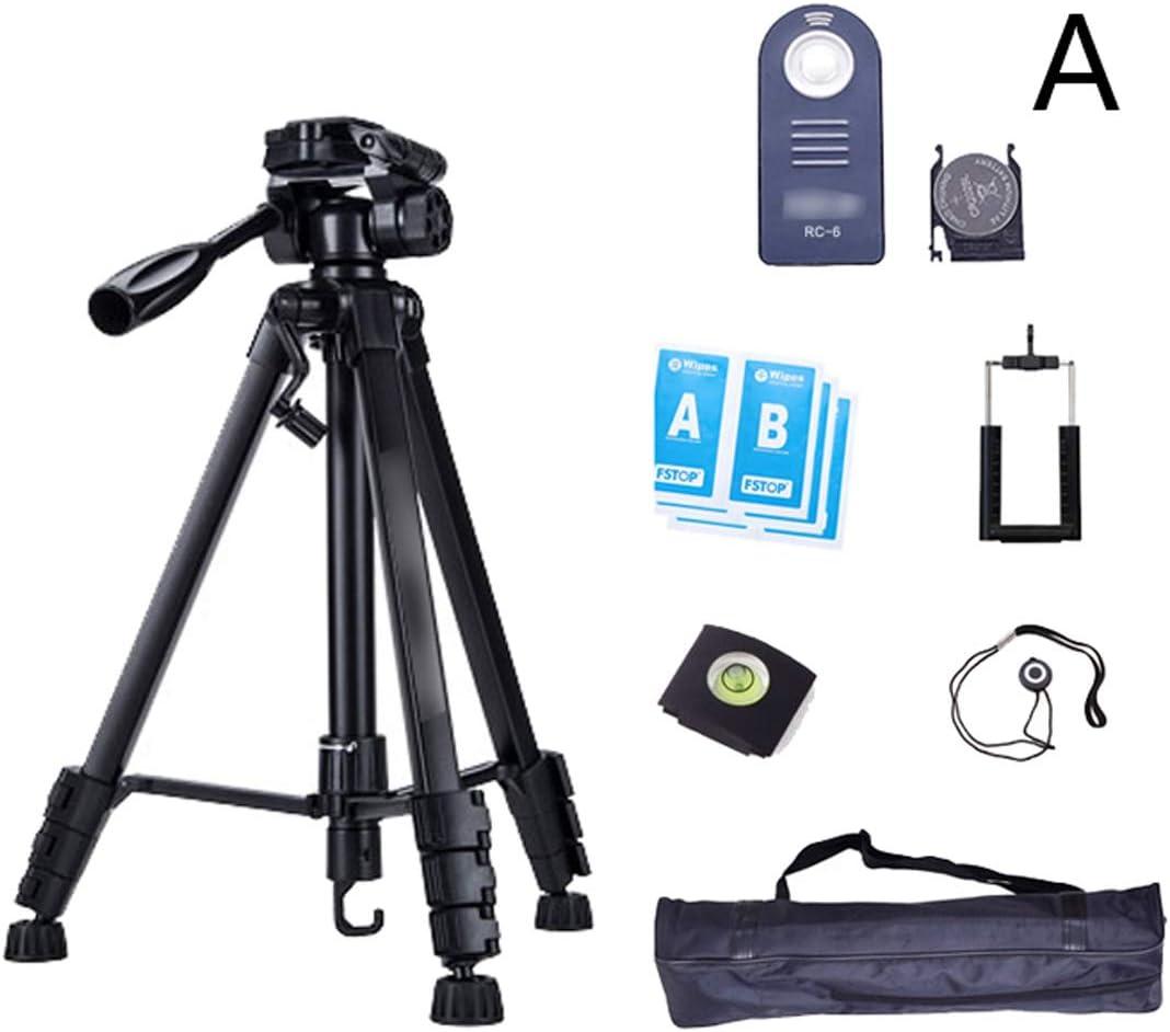 CJGXJZJ Camera Tripod Portable Light Aluminum Tripod Expandable Travel Outdoor Photography Bracket SLR Tripod with Storage Bag Black Design : A