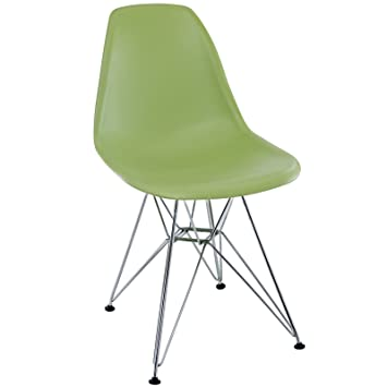 Modway Paris Mid Century Modern Side Chair With Steel Metal Base In Green