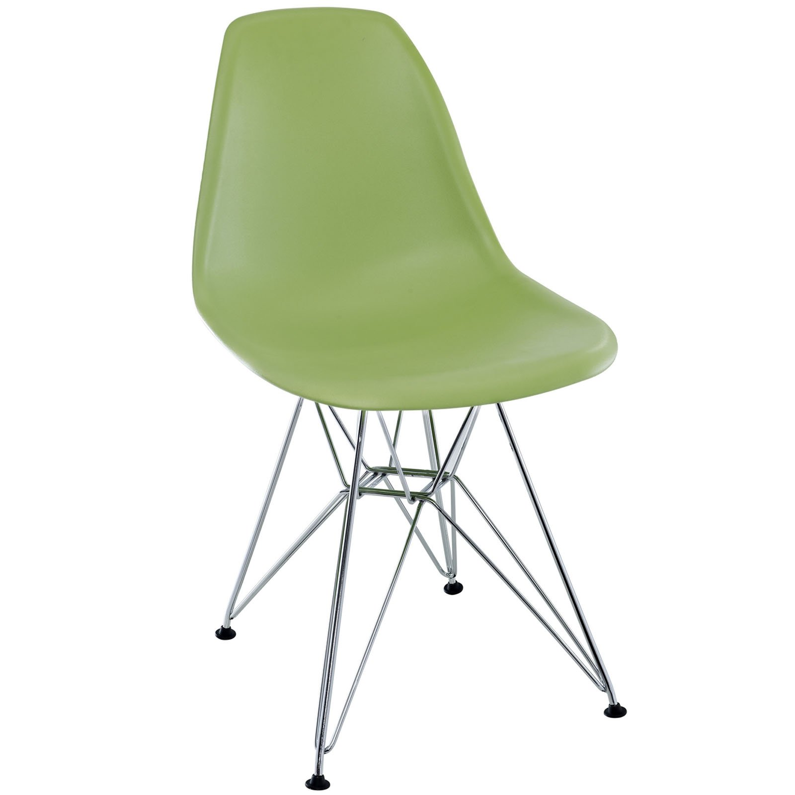 Modway Paris Mid-Century Modern Side Chair with Steel Metal Base in Green