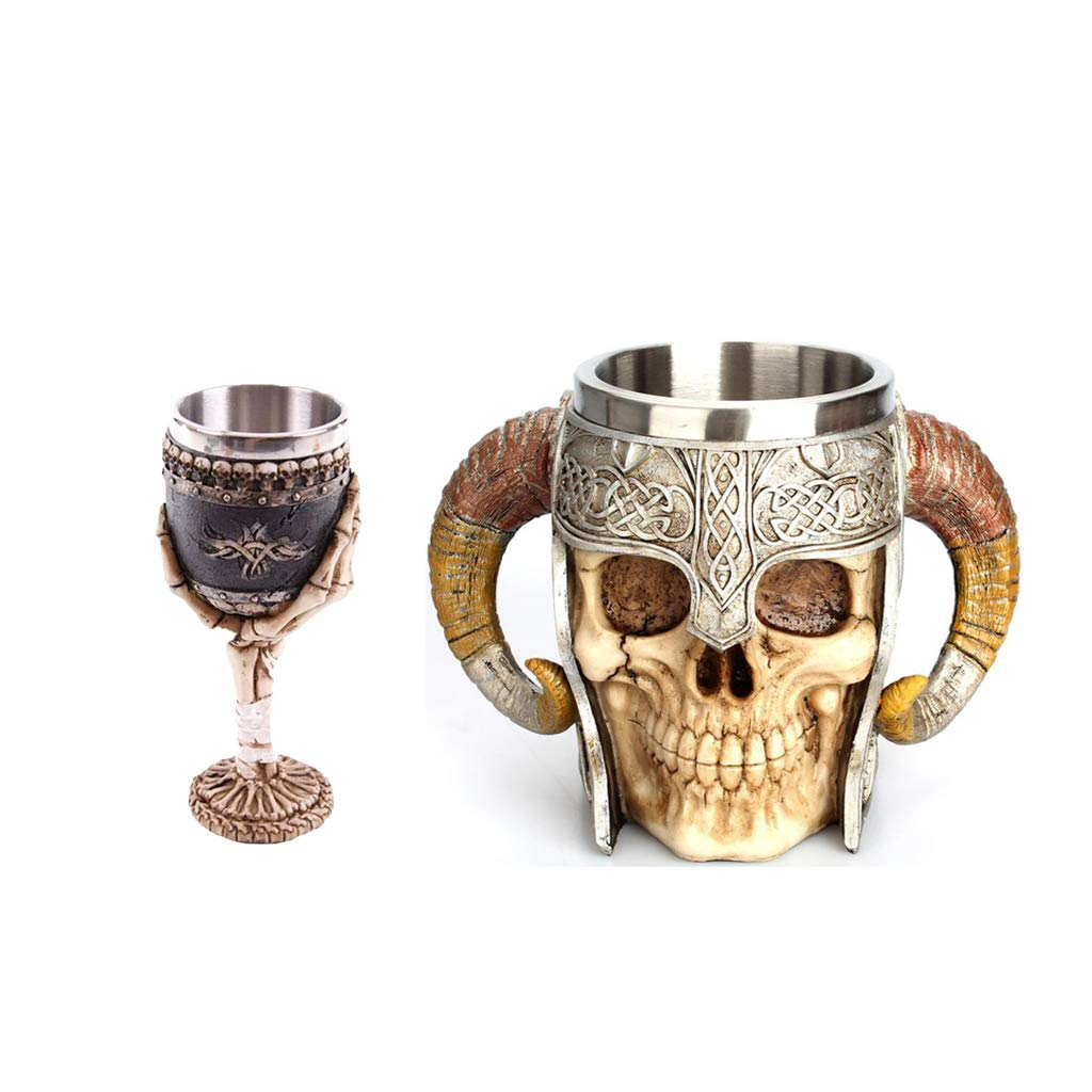 Homyl 3D Viking Stainless Steel Skull Mugs Horn Beer Tankard Cup with Bone Palm Wine Goblet,Set of 2,for Halloween, Party, Relatives and Friends, Men Father's Day Gifts