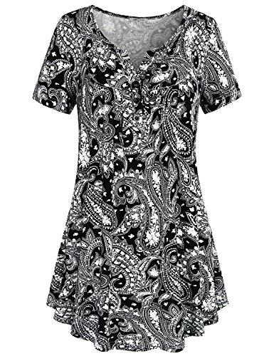 Womens summer tops,SeSe Code Women's Crewneck Button-up Ruched Short Sleeve Tunic Shirt top Large Black