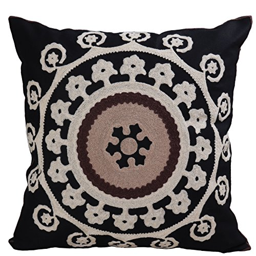 Bridgeso Elegant Throw Pillow Case Black Floral embroidered Soft Cotton Linen Blend Decorative Pillow Cover Sham for Couch, Pack of 1, 18 x 18 inch (45 x 45cm), Black
