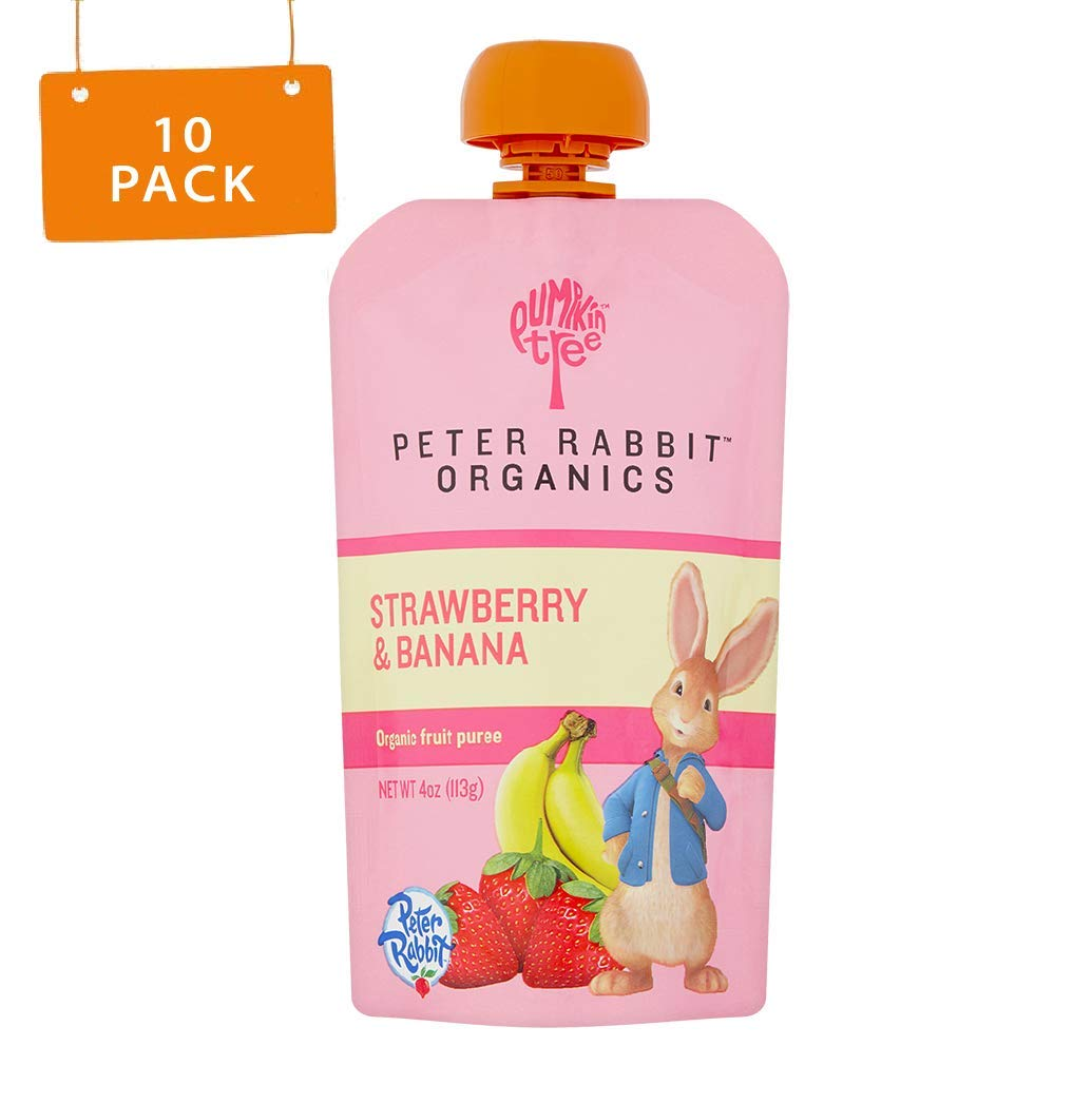 Peter Rabbit Organics Strawberry and Banana Pure Fruit Snack, 4 Ounce Squeeze Pouch (Pack of 10) by Pumpkin Tree