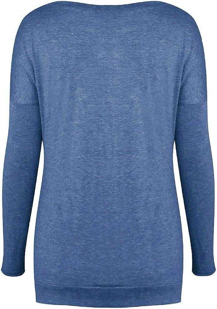 Fainosmny Women Solid Shirt Long Sleeve Botton Blouse Casual O Neck Tops Plus Size