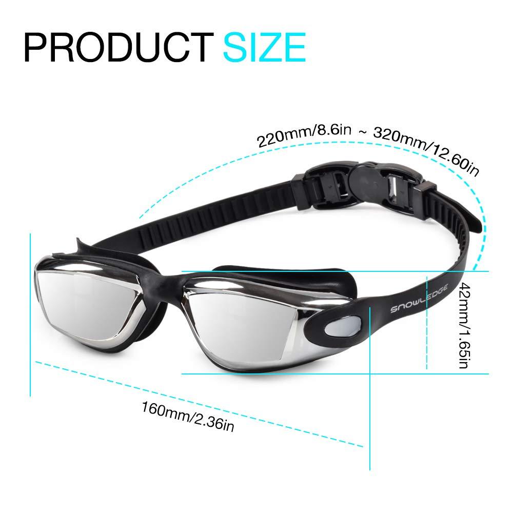 Snowledge Schwimmbrille Herren und Damen Schwimmenbrille Leckfrei Antibeschlag Breite Ansicht UV-Schutz Schwimmen Brille f/ür Erwachsene und Kinder