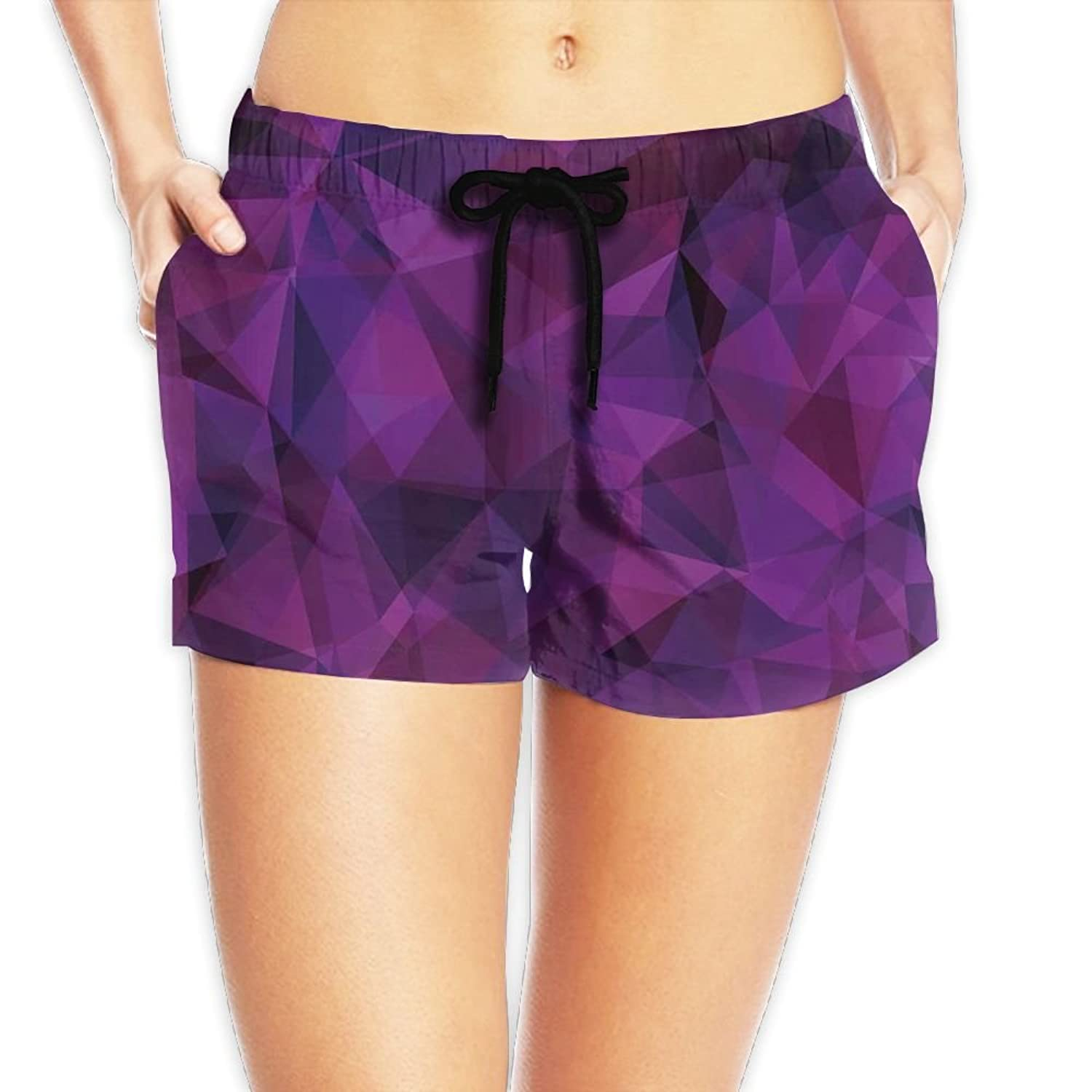 Coldcool Woman's Broken Glass Inspired Geometric Triangle Abstract Shapes Stretchable Board Shorts