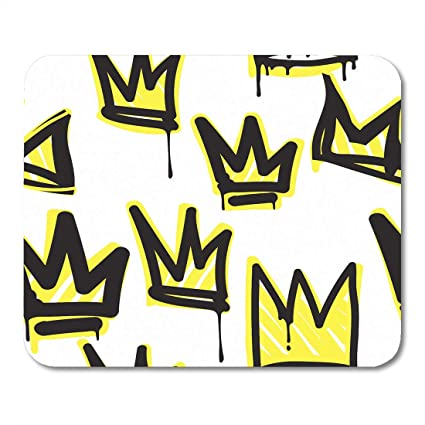 Amazon com : Emvency Mouse Pads Yellow Crown Tags Black and White