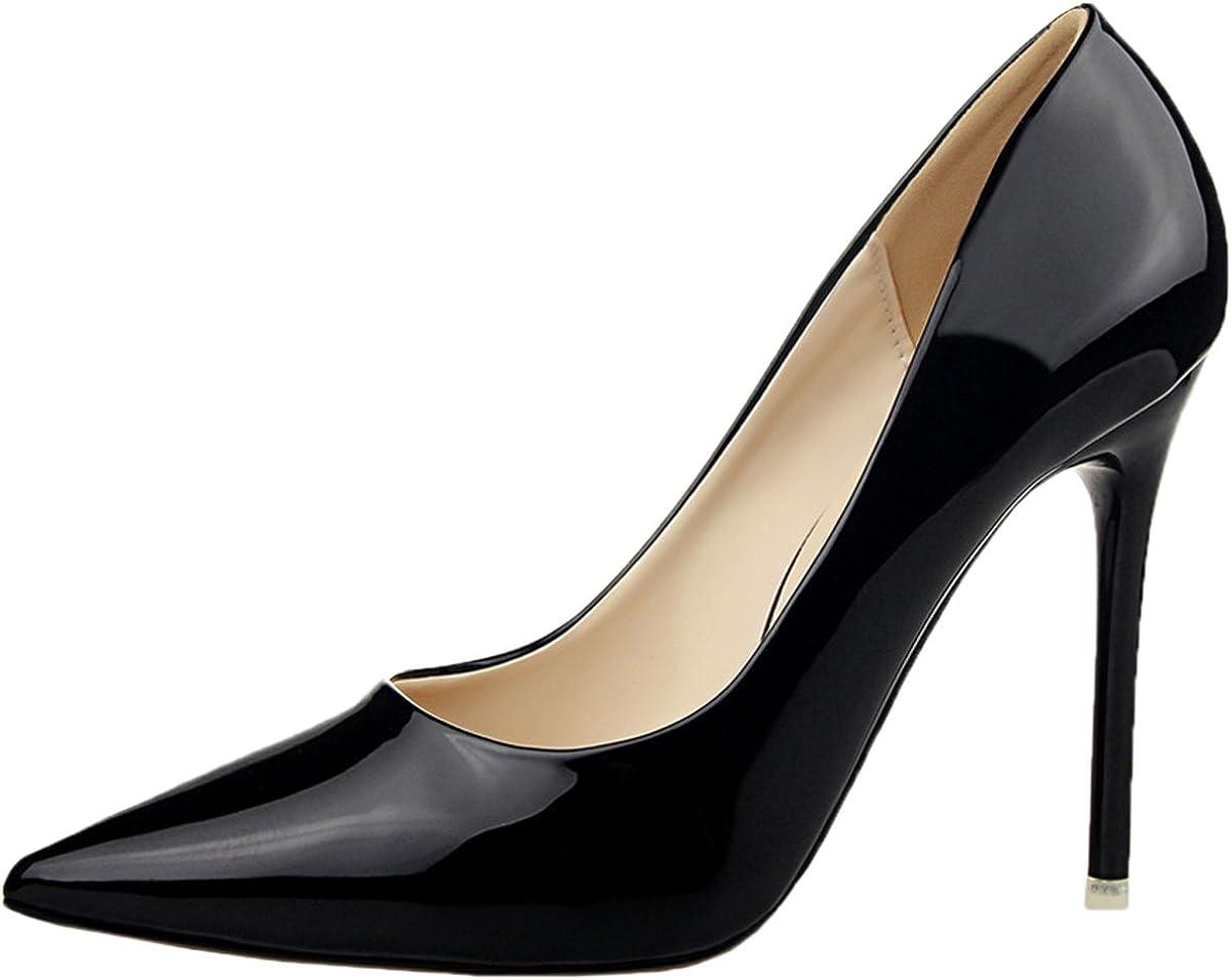BIGTREE Cuir Verni Femmes Pointu Talons Hauts Robe Chaussures Stiletto Escarpins De