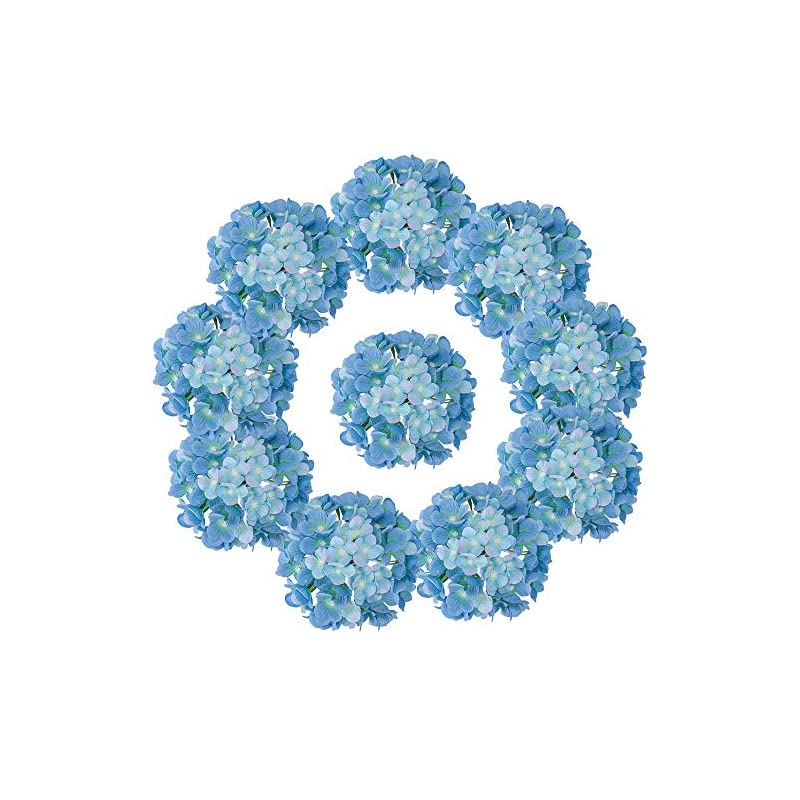 silk flower arrangements lushidi silk hydrangea heads with stems artificial flowers heads for home wedding decor,pack of 10 (sky blue)