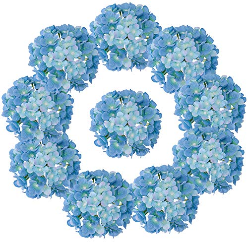 LUSHIDI Silk Hydrangea Heads with Stems Artificial Flowers Heads for Home Wedding Decor,Pack of 10 (Sky -