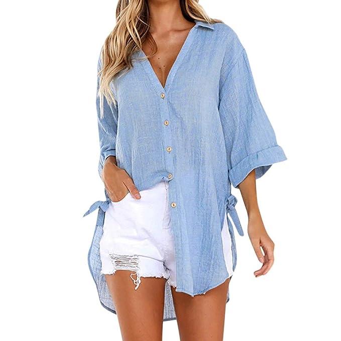 LMMVP❤ Blusa Mujer,Mujeres Sueltas botón Largo Vestido de algodón Damas Casual Tops