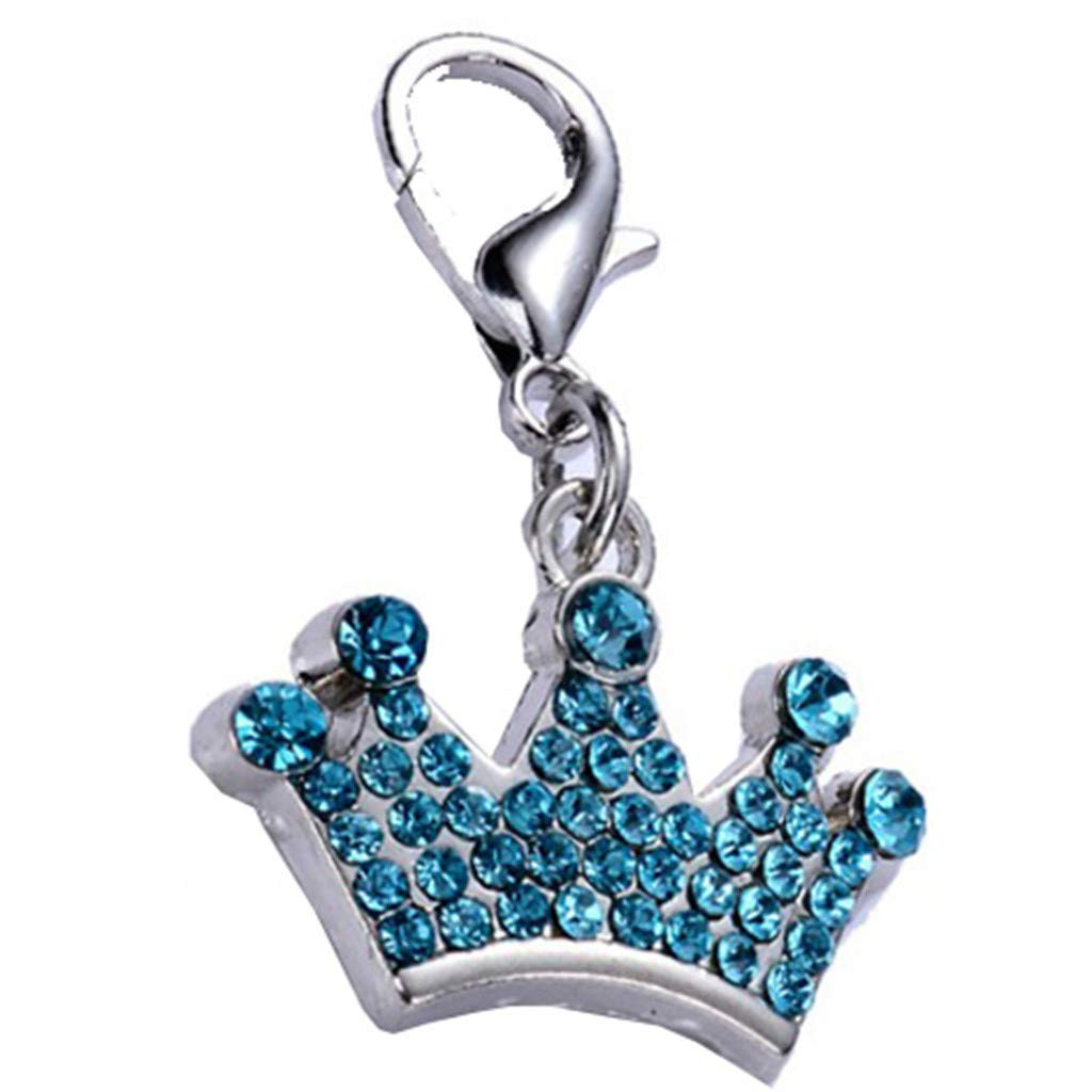 HUN Pet ID Tag,Cute More Drilling Diamond Imperial Crown Dog Cat Tags Pet Jewelry Necklace (Blue, 3x2cm)
