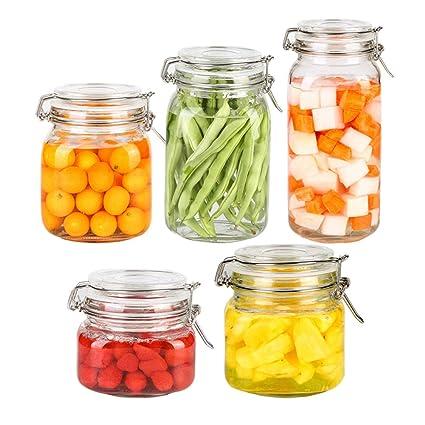 Tarro De Almacenamiento 5 Botellas De Especias Cuadradas De Vidrio Con Tapas De Vidrio Transparente Hebilla