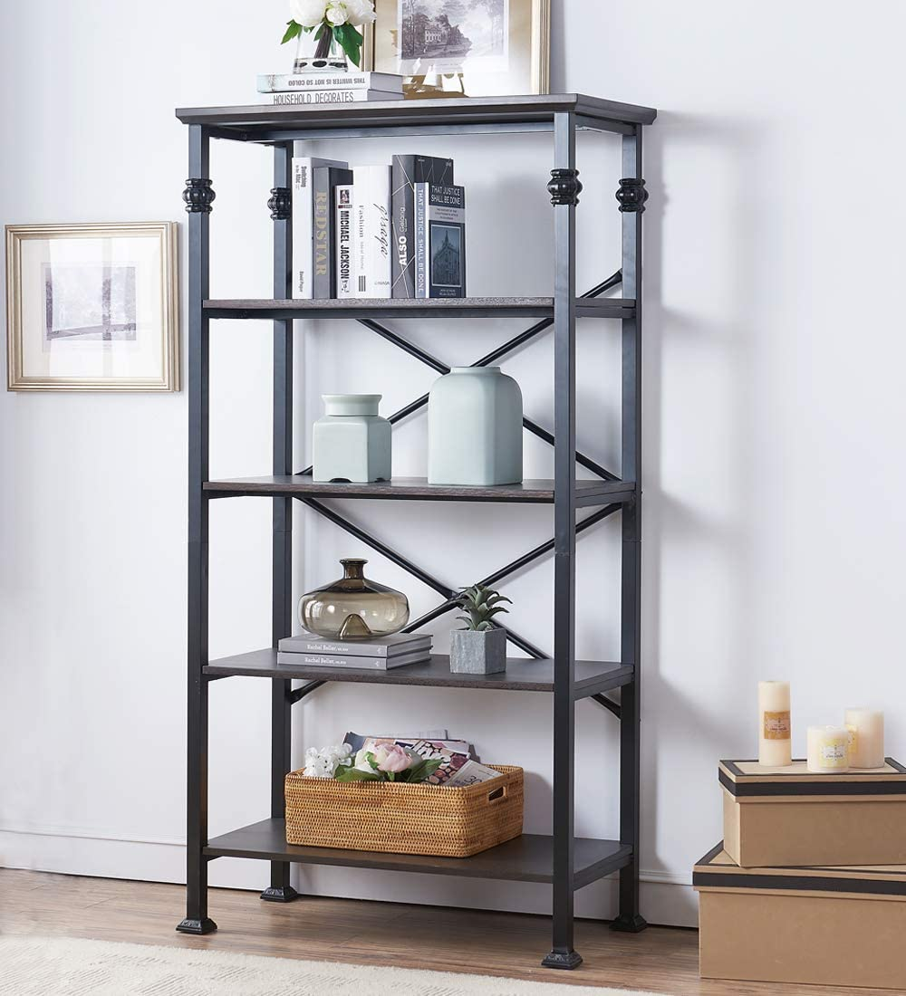 O K FURNITURE 5-Tier Bookcase and Shelves, Vintage Wood and Metal Bookshelf for Home Decor Display, Black-Espresso