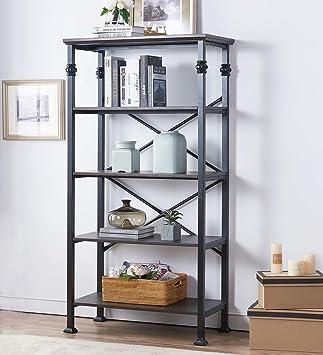 Amazon Com O K Furniture 5 Tier Bookcase And Shelves Vintage Wood