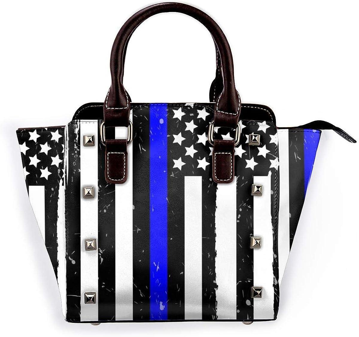 3d brillante cielo estrellado mujeres moda cuero genuino remache bolso de hombro de las niñas de viaje de la escuela bolso de mano Bandera de Estados Unidos Con Rayas Azules.