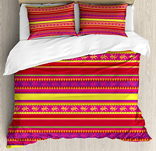 Duvet Cover Set Mexican Vibrant Colored Striped Pattern with Abstract Lizard Animal Figures Folk Borders Ultra Soft Durable Twill Plush 4 Pcs Bedding Sets for Childrens/Kids/Teens/Adults Twin Size by BABE MAPS