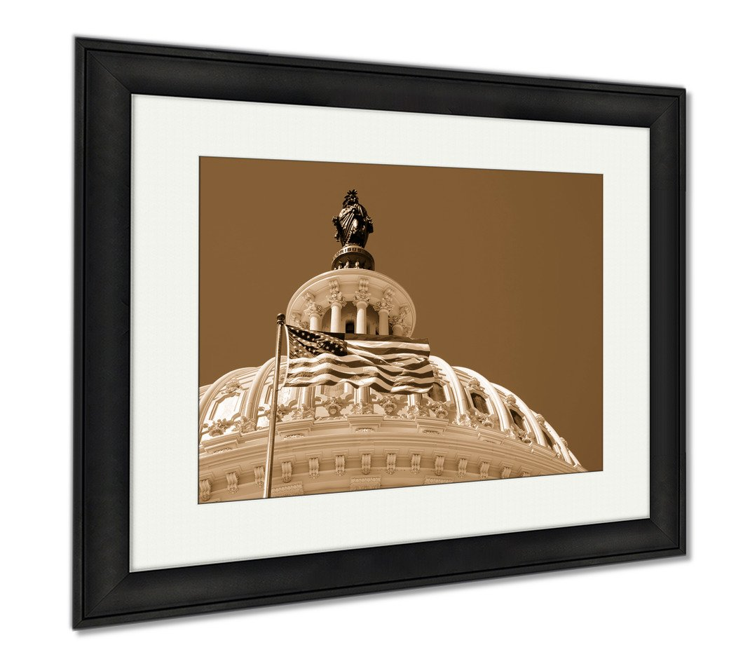 Ashley Framed Prints The United States Flag Waving In Front Of The Capitol In Washington D C, Wall Art Home Decoration, Sepia, 26x30 (frame size), Black Frame, AG6557602