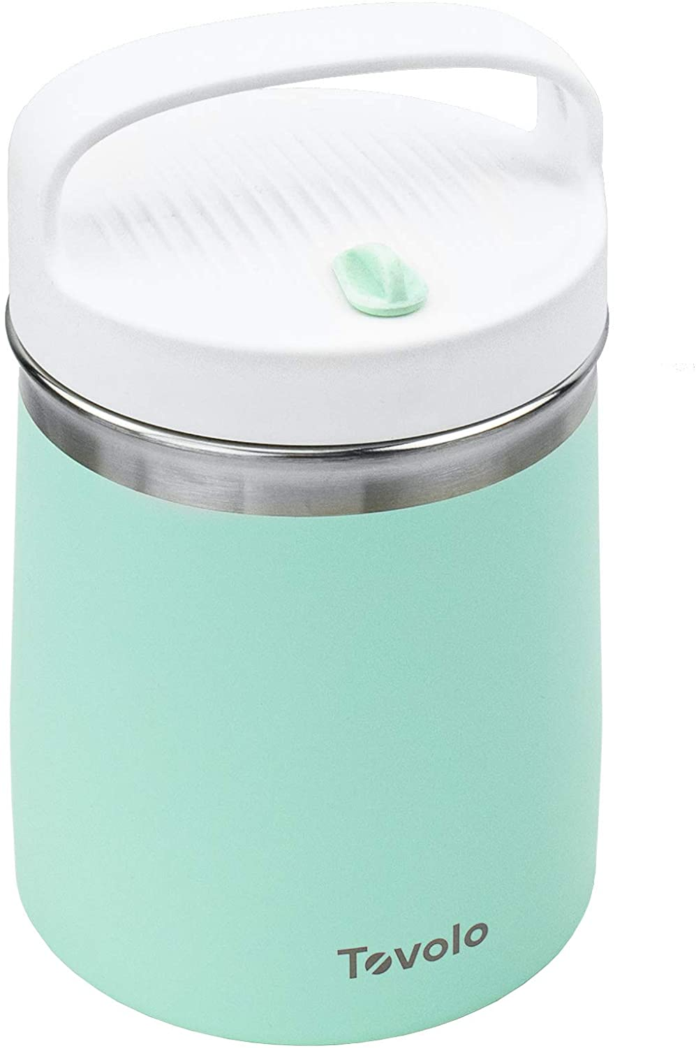 Tovolo 2 Quart Stainless Steel Traveler, Double-Wall Vacuum-Insulated Food Container, 2 Qt. Food Storage & Ice Cream Container, Easy-Carry Handle, Travel Mug for Hot Food & Cold Ice Cream, Mint