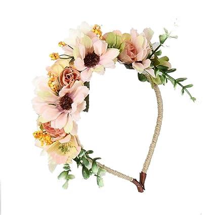 JZK flores corona de flores diadema tiara guirnalda flor pelo cabeza  hairband guirnalda headpiece para boda a4b157dd8de7