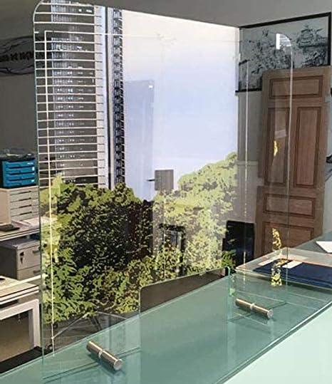 Mampara Pantalla PROTECCION Mostrador CRISTAL de SEGURIDAD - 【HIGIENE y DESINFECCIÓN】 - Vidrio templado 6 mm - Varias Medidas - 120 ancho x 80 altura (ventana 50x20): Amazon.es: Bricolaje y herramientas