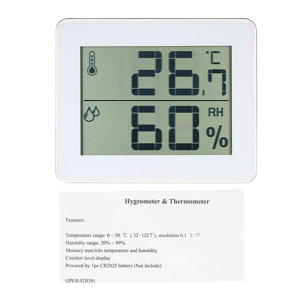 Adecuado para el Cuarto del beb/é sal/ón Term/ómetro e higr/ómetro t/érmico Oficina medidor de Humedad del Aire hidr/ómetro Interior Digital con Alta precisi/ón term/ómetro Digital Interior