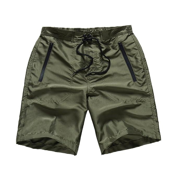 c31cdf5f1841f MADHERO Men Board Shorts No Mesh Swim Trunk Zipper Pockets Swimwear (S)