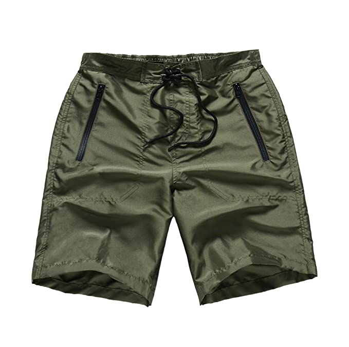 0157df10a7 MADHERO Men Board Shorts No Mesh Swim Trunk Zipper Pockets Swimwear (S)