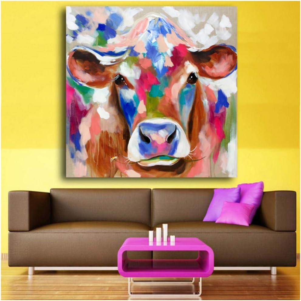HUIGEFANBUHUA Bunte Kuh leinwand Bilder f/ür Wohnzimmer Schlafzimmer wandkunst /ölgem/älde wohnkultur Wandbilder Hand leinwand art-50x50cm Kein Rahmen