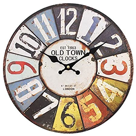 large numbers 15616 large rustic retro kitchen wall clock 34cm - Kitchen Wall Clocks